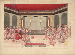 Krishna celebrating the Holi Festival with a crowd of milk-maids in a courtyard under red canopy